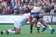 Newcastle Falcons Number 8 Nili Latu (8) is tackled by Leicester Tigers Hooker Tom Youngs (2)  during the Aviva Premiership match between Newcastle Falcons and Leicester Tigers at Kingston Park, Newcastle, United Kingdom on 29 October 2017. Photo by Simon Davies.