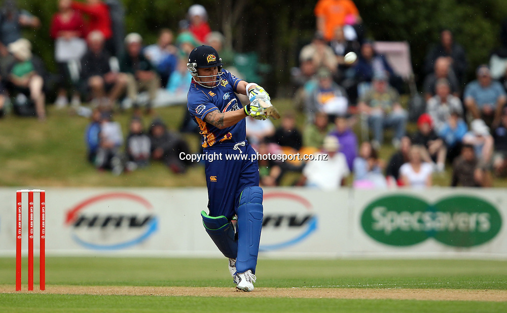 Brendon McCullum hits the first 6 of the match.<br /> Twenty20 Cricket - HRV Cup, Otago Volts v Northern Knights, 29 December 2011, University Oval, Dunedin, New Zealand.<br /> Photo: Rob Jefferies/PHOTOSPORT