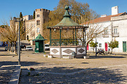 Pousada Castelo de Altivo, viewed from nearby square plaza with bandstand, Alvito, Baixo Alentejo, Portugal, southern Europe