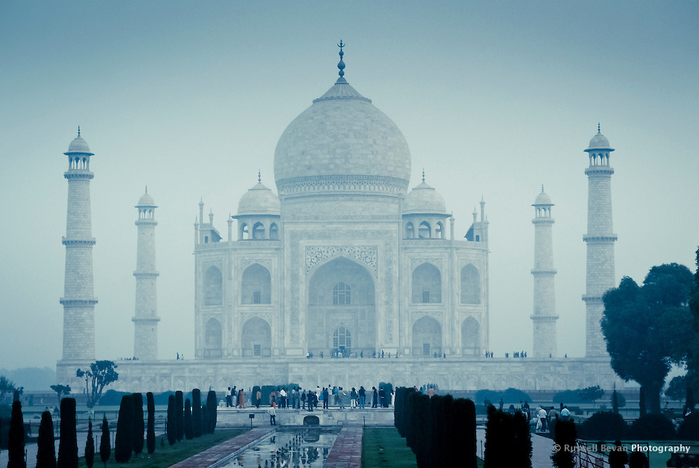 A misty morning at the Taj Mahal in Agra, Uttar Pradesh, India