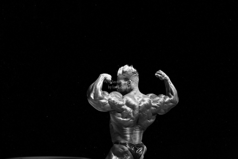 Jay Cutler on stage at the finals for the 2009 Mr. Olympia competition in Las Vegas.