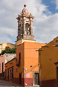 The bell tower of the Convent of the Immaculate Conception known as the Nuns in the historic center of San Miguel de Allende, Mexico.