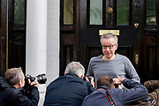 UNITED KINGDOM, London: 28 May 2019 <br /> The environment secretary Michael Gove leaves his house in West London this morning. The Tory leadership candidate will pledge free British citizenship for three million EU nationals after Brexit if he becomes prime minister.