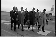 Texaco Board Of Directors..1963..03.10.1963..10.03.1963..3rd October 1963..The Board of Directors of Texaco Inc., flew into Dublin Today in two special planes for a four day inspection tour of their Irish subsidery Caltex Ireland Ltd...Picture shows the Board of Directors on their arrival at Dublin Airport where they were met by Mr T U Fortune (left) Director and Assistant to the Managing Director, Caltex Ireland ltd.