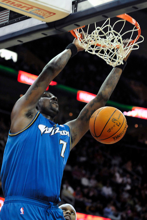 April 13, 2011; Cleveland, OH, USA; Washington Wizards power forward Andray Blatche (7) dunks during the third quarter against the Cleveland Cavaliers at Quicken Loans Arena. The Cavaliers beat the Wizards 100-93. Mandatory Credit: Jason Miller-US PRESSWIRE
