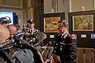 Roma 2 Aprile 2014<br />  I carabinieri del Comando tutela patrimonio culturale hanno recuperato due capolavori dell'Impressionismo francese rubati a Londra nel 1970. Si tratta di un'opera di Gauguin intitolata 'Fruits sur une table ou nature morte au petit chien' ('Frutti su una tavola o natura morte con cagnolino') e del dipinto di Bonnard 'La femme aux deux fauteuils', ossia 'Donna con due poltrone'. L'opera di Gauguin, stando alle quotazioni attuali, sottolineano dal Comando carabinieri Tpc, ha un valore compreso tra i 15 ed i 35 milioni di euro, mentre quella di Bonnard si aggira intorno ai 600 mila euro.  Il generale di brigata Mariano Mossa, comandante dei Carabinieri per la Tutela del patrimonio culturale  intervistato dai giornalisti<br /> Rome 2 April 2014<br /> The Carabinieri of the Command it protects cultural patrimony , have recovered two masterpieces of the French impressionism stolen in London in 1970. It is a work of Gauguin titled 'Fruits sur une table ou nature morte au petit chien' ('Fruit on a table or death nature with little dog') and Bonnard's painting 'La femme aux deux fauteuils', i( Woman with two armchairs). The work of Gauguin, according to current prices emphasize the Carabinieri TPC Command, has a value between 15 and 35 million Euros, while that of Bonnard is around 600 thousand euro.<br /> The Brigadier General of the Carabinieri (Italian police) of Cultural Heritage Mariano Mossa interviewed by reporters