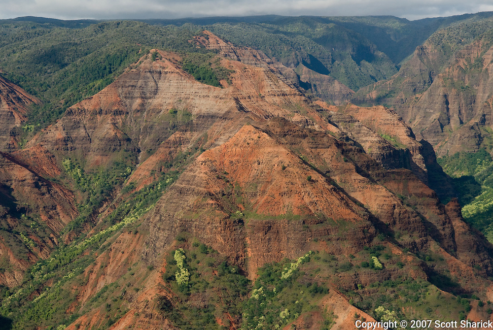 Waimea Canyon on Kauai, Hawaii, known as the Grand Canyon of the Pacific.