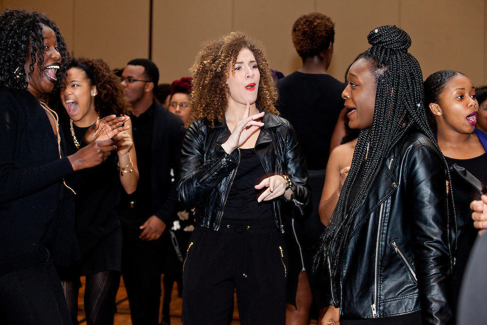 """Attendees dance to the sounds of DJ """"Superstar Smit"""" at the All Black Affair at Baker University Center Ballroom at Ohio University on Friday, January 29, 2016. © Ohio University / Photo by Sonja Y. Foster"""