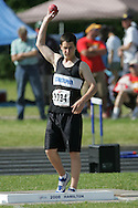 London, Ontario ---07/06/08--- Brett Thompson of St. Christopher in Sarnia competes in the Shot put at the 2008 OFSAA Track and Field meet in Hamilton, Ontario..Sean Burges