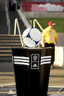 August 4, 2012: The game ball on the ball stand prior to the start of the Colorado Rapids game against Real Salt Lake at Dick's Sporting Goods Park in Denver, Colorado