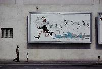 ca. April 1980, Havana, Cuba --- Mural Depicting Uncle Sam as the Pied Piper of Hamelin --- Image by © Owen Franken/CORBIS