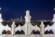 View north from the Woolworth Building in New York City showing a detail of the original gothic terracotta balcony railing.