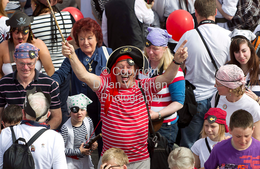 1/7/2011.no charge for repro.Eddie Fardy  from Waterford pictured at the Guinness World Record attempt at the most pirates in one place at the Tall Ships Races in Waterford yesterday..Picture Dylan Vaughan