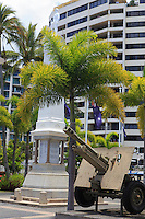 The War Memorial outside the Cairns Returned Service Leagues Club (RSL) on the Esplanade foreshore, Cairns, far north Queensland, Australia.