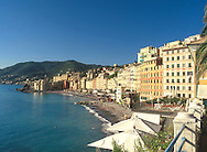 Colourful old buildings along the seafront in<br /> Camogli, Liguria, Italy