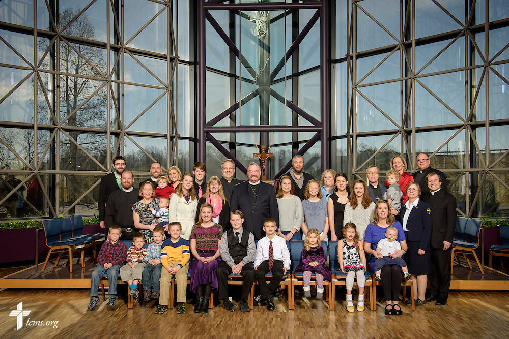 Group photograph of the Winter 2016 missionaries at the International Center chapel of The Lutheran Church–Missouri Synod on Monday, Feb. 29, 2016, in Kirkwood, Mo. LCMS Communications/Erik M. Lunsford