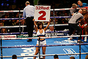 A ring girl during the IBF World Featherweight Championship between Josh Warrington and Kid Galahad at First Direct Arena, Leeds, United Kingdom on 15 June 2019.