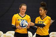 September 19, 2017 - Johnson City, Tennessee - Brooks Gym: ETSU setter Alyssa Kvarta (12)m, ETSU defensive specialist Aya Lechin (11)<br /> <br /> Image Credit: Dakota Hamilton/ETSU