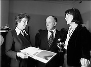 25/07/1977<br /> 07/25/1977<br /> 25 July 1977<br /> ROSC '77 Press Reception at Peter Owens Ltd. At the Press Reception to announce the details of ROSC '77 were, (l-r): Ethne Waldron, Curator, Hugh Lane Art Gallery; Cecil King, committee member and MIMI Behneche, exhibition administrator.