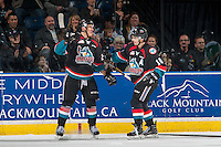 KELOWNA, CANADA - NOVEMBER 12: Calvin Thurkauf #27 and Nick Merkley #10 of the Kelowna Rockets celebrate a first period goal against the Prince Albert Raiders on November 12, 2016 at Prospera Place in Kelowna, British Columbia, Canada.  (Photo by Marissa Baecker/Shoot the Breeze)  *** Local Caption *** Calvin Thurkauf; Nick Merkley;