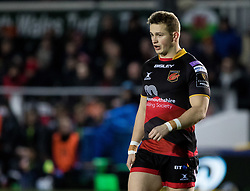 Dragons' Hallam Amos<br /> <br /> Photographer Simon King/Replay Images<br /> <br /> Guinness PRO14 Round 14 - Dragons v Glasgow Warriors - Friday 9th February 2018 - Rodney Parade - Newport<br /> <br /> World Copyright © Replay Images . All rights reserved. info@replayimages.co.uk - http://replayimages.co.uk