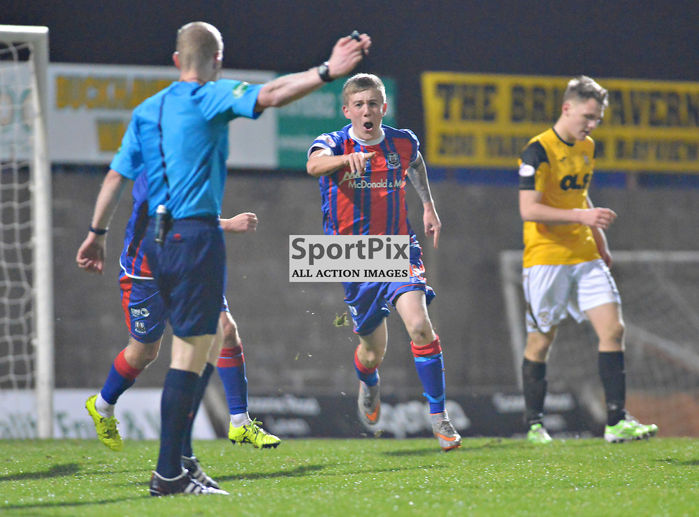 This way to the top of the League points Elgin's Kyle MacLeod after scoring to make it a 2-0 win at East Fife......(c) BILLY WHITE | SportPix.org.uk
