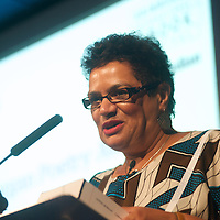 Jackie Kay presents the 2014 Edwin Morgan Poetry Award at the Edinburgh International Book Festival on 16th August 2014 <br /> <br /> Picture by Alan McCredie/Writer Pictures<br /> <br /> WORLD RIGHTS