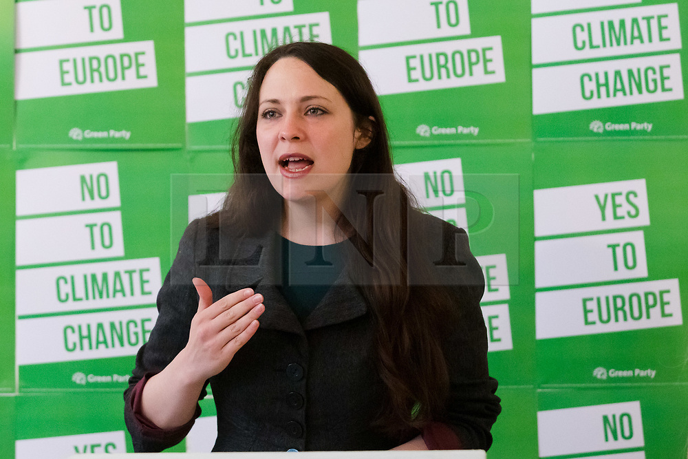 © Licensed to London News Pictures. 08/05/2019. London, UK.  Deputy leader, Amelia Womack speaking at the Green Party European election campaign launch, held at the Candid Arts Trust.  Photo credit: Vickie Flores/LNP