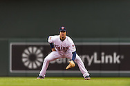Joe Mauer #7 of the Minnesota Twins awaits a pitch while playing 1st base against the Kansas City Royals on April 13, 2014 at Target Field in Minneapolis, Minnesota.  The Twins defeated the Royals 4 to 3.  Photo by Ben Krause