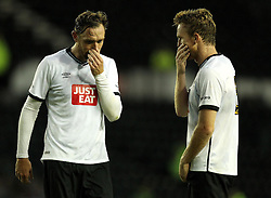 Derby County's Richard Keogh and Derby County's Alex Pearce - Mandatory by-line: Robbie Stephenson/JMP - 07966386802 - 29/07/2015 - SPORT - FOOTBALL - Derby,England - iPro Stadium - Derby County v Villarreal CF - Pre-Season Friendly