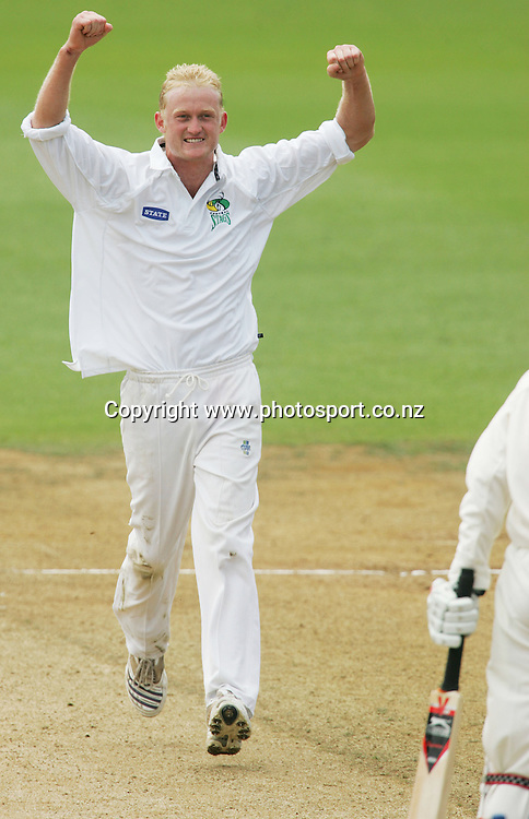 Scott Baldwin celebrates after bowling Richard Jones out for 120 runs on day 3 of the State Championship cricket match between the Auckland Aces and the Central Stags at Eden Park, Auckland, New Zealand on Wednesday 7 March 2007. Photo: Hannah Johnston/PHOTOSPORT<br /> <br /> <br /> <br /> 070307