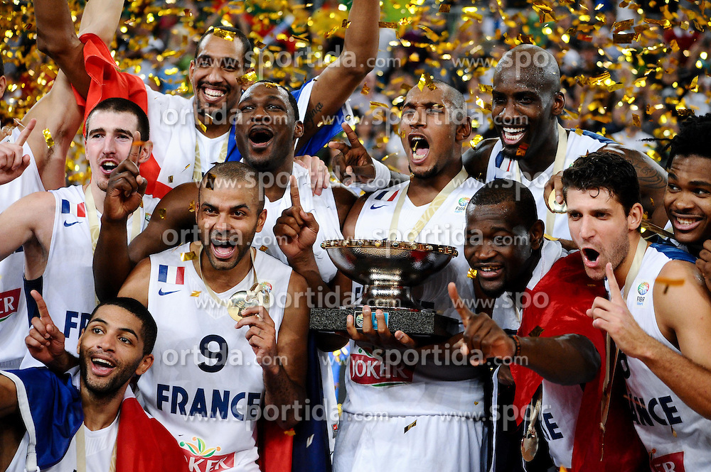 Players of France celebrate as European Champions 2013 at trophy ceremony after they won during basketball match between National teams of France and Lithuania in Final game at Day 19 of Eurobasket 2013 on September 22, 2013 in Arena Stozice, Ljubljana, Slovenia. (Photo by Vid Ponikvar / Sportida)