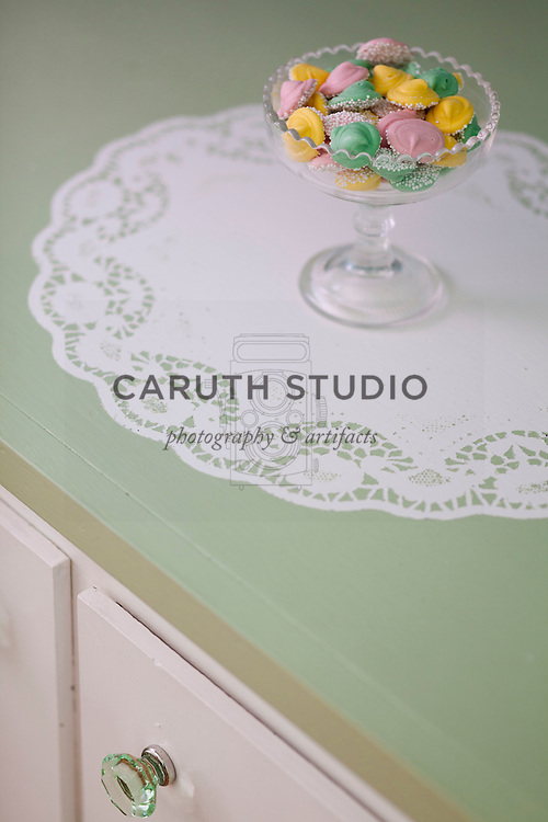 Dining room makeover in aqua and green, stenciled doily detail