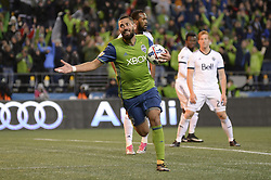 November 2, 2017 - Seattle, Washington, U.S - Soccer 2017: The Sounders CLINT DEMPSEY (2) celebrates his goal as the Vancouver Whitecaps and Seattle Sounders play in a MLS Western Conference semi-final match at Century Link Field in Seattle, WA. Seattle won the match 2-0. (Credit Image: © Jeff Halstead via ZUMA Wire)