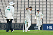 Wicket - Kyle Abbott of Hampshire celebrates taking the wicket of Tom Fell of Worcestershire during the Specsavers County Champ Div 1 match between Hampshire County Cricket Club and Worcestershire County Cricket Club at the Ageas Bowl, Southampton, United Kingdom on 13 April 2018. Picture by Graham Hunt.