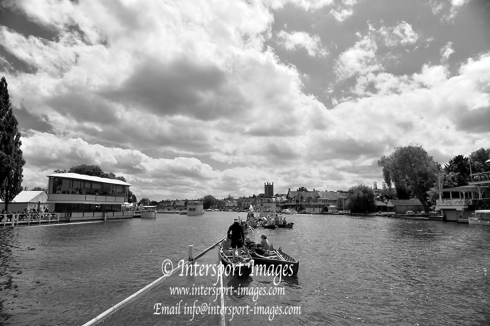Henley, GREAT BRITAIN,   General Views from the Progress Board, Boat on the booms, Stewards Enclosure, Crews racing through the Stewards Enclosure. 2012 Henley Royal Regatta. Friday  14:14:37  29/06/2012. [Mandatory Credit, Peter Spurrier/Intersport-images] ..Rowing Courses, Henley Reach, Henley, ENGLAND . HRR.