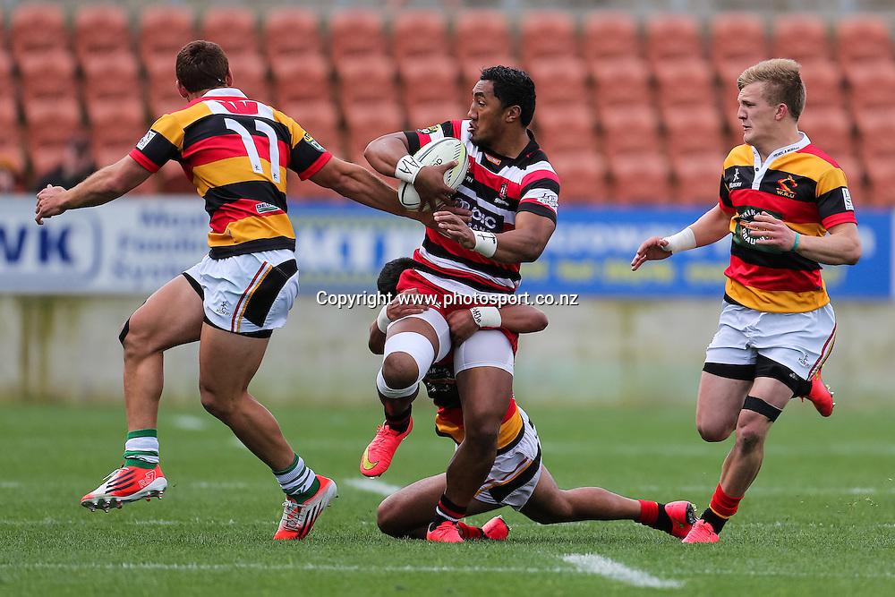 Counties Maunkau's Bundee Aki in action during the ITM Cup rugby match - Waikato v Counties Manukau at Waikato Stadium, Hamilton on Sunday 14 September 2014.  Photo: Bruce Lim / www.photosport.co.nz