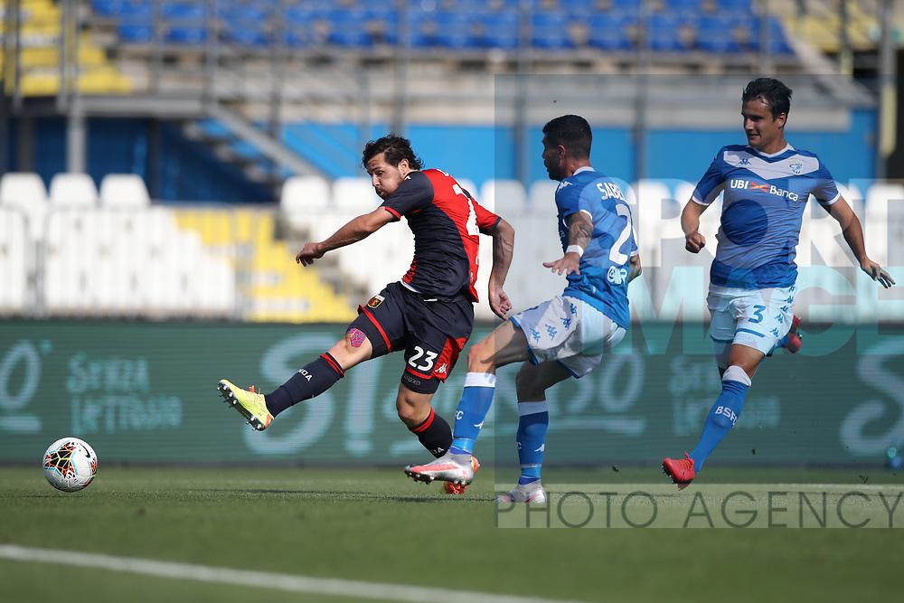Genoa's Italian striker Mattia Destro shoots goal wards during the Serie A match at Stadio Mario Rigamonti, Brescia. Picture date: 27th June 2020. Picture credit should read: Jonathan Moscrop/Sportimage