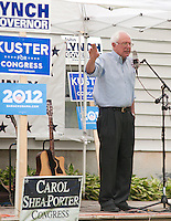 Senator Bernie Sanders speaks during an informal BBQ in Canterbury Sunday afternoon for the Merrimack County Democrats.  (Karen Bobotas/for the Concord Monitor)
