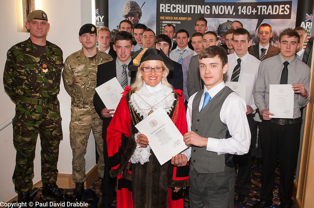 Harry Baker and 17 other young men from the area took their Oath of Allegiance to formally  join the British Army Doncaster Trades Club before beginning their basic training. Presenting them with their certificates on Wednesday Morning was the Civic Mayor of Doncaster Cllr Eva Hughes..www.pauldaviddrabble.co.uk..1st February 2012 -  Image © Paul David Drabble
