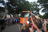 The ESPN College Gameday bus pulls in front of the Lyceum, in Oxford, Miss. on Thursday, October 2, 2014.