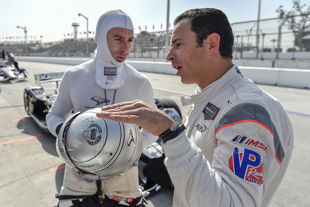 Simon Pagenaud, Team Penske Chevrolet, Helio Castroneves<br /> Friday 13 April 2018<br /> Toyota Grand Prix of Long Beach<br /> Verizon IndyCar Series<br /> Streets of Long Beach, California USA<br /> World Copyright: Scott R LePage<br /> LAT Images