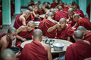 Buddhist Monks at Kha Khat Wain Kyaung Monastery Dining Room (Bago, Myanmar)