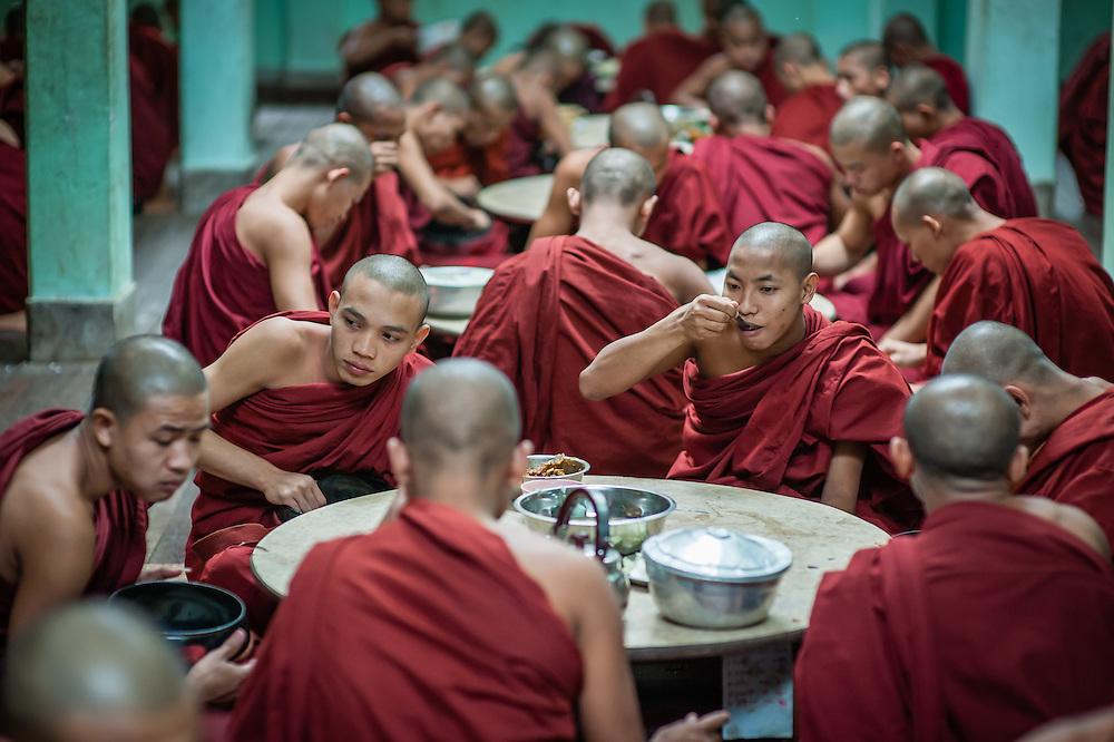 Buddhist Monks at Kha Khat Wain Kyaung Monastery Dining Room (Bago, Myanmar)