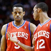 21 January 2012: Philadelphia Sixers small forward Andre Iguodala (9) listens to Philadelphia Sixers shooting guard Evan Turner (12) during the Miami Heat 113-92 victory over the Philadelphia Sixers at the AmericanAirlines Arena, Miami, Florida, USA.