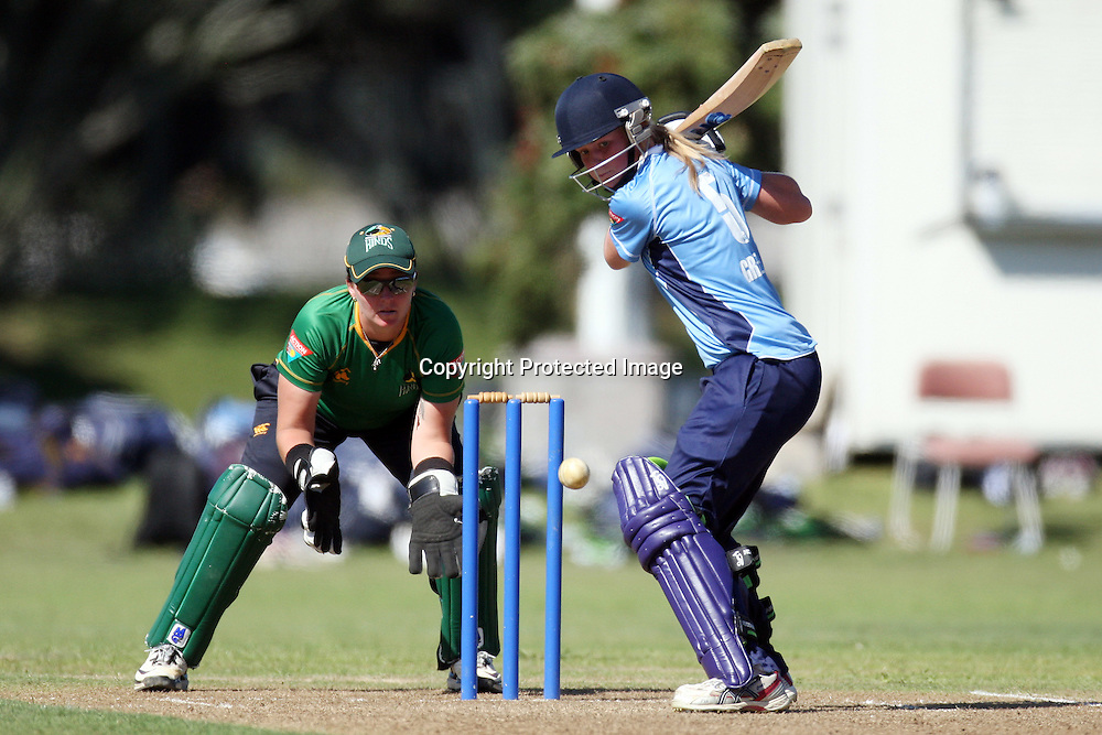 Maddie Green. Women's One Day Cricket, Action Cricket Cup, Auckland Hearts v Central Hinds, Melville Park, Auckland, Saturday 8 January 2011, . Photo: Ella Brockelsby/photosport.co.nz