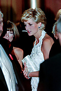 Diana, Princess of Wales views clothing displays during a charity gala fundraising event for the Nina Hyde Center for Breast Cancer Research September 24, 1996 in Washington, DC.