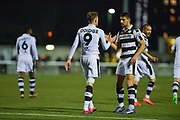 Forest Green Rovers Forward, Christian Doidge (9) and Forest Green Rovers Forward, Omar Bugiel (11) celebrate 0-2 during the Vanarama National League match between Sutton United and Forest Green Rovers at Gander Green Lane, Sutton, United Kingdom on 14 March 2017. Photo by Adam Rivers.