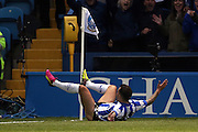Ross Wallace slides toward the corner flag in celebration having put Sheffield Wednesday 1-0 ahead during the Sky Bet Championship Play Off First Leg match between Sheffield Wednesday and Brighton and Hove Albion at Hillsborough, Sheffield, England on 13 May 2016.