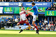 Charlie Wyke (9) of Bradford City battles for possession with Christian Burgess (6) of Portsmouth during the EFL Sky Bet League 1 match between Portsmouth and Bradford City at Fratton Park, Portsmouth, England on 28 October 2017. Photo by Graham Hunt.